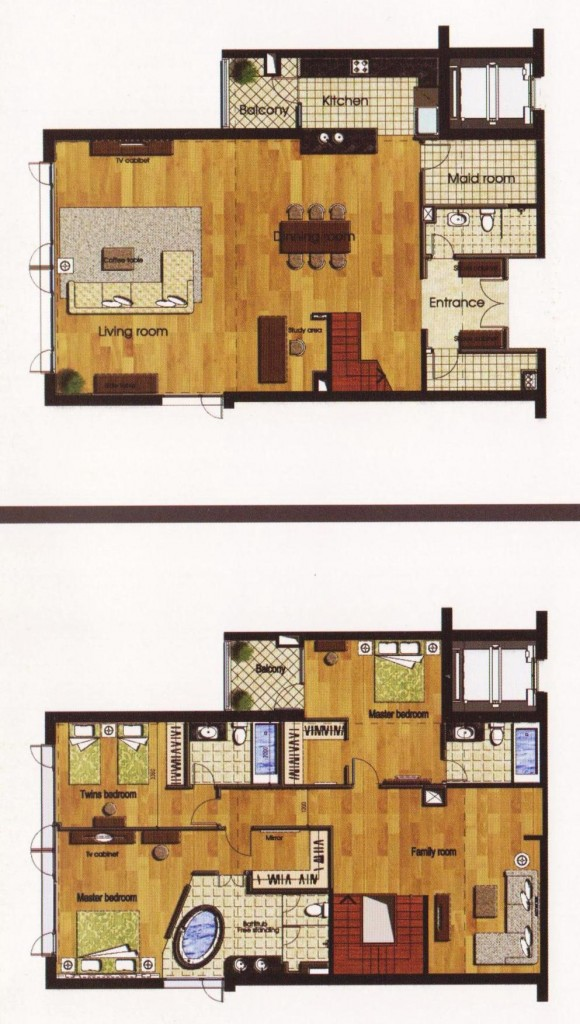 3+1ベッドルーム(Deluxe Duplexメゾネット:285㎡)