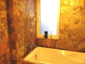 バスルームには換気窓が付いています