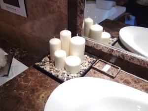 気持ちのこもったオーナーさんがさりげなく飾ってある浴室のキャンドル