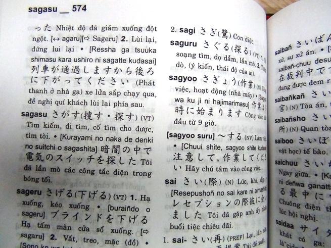 日越辞書「五十音順ではなくアルファベット順だからちょっと見づらいですね」