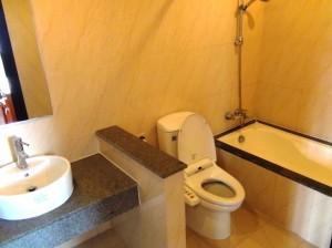 ウォシュレット付きのトイレとバスタブ「この部屋には付きます」