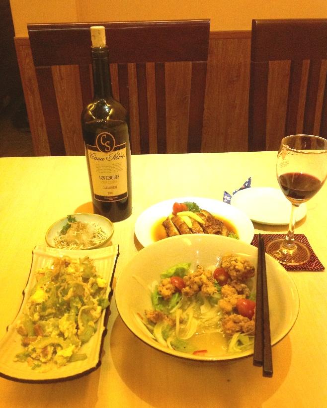 沖縄料理ゴーヤチャンプルに赤ワイン「合ってないかも知れないですが、赤ワインを飲める時間が欲しいだけ」