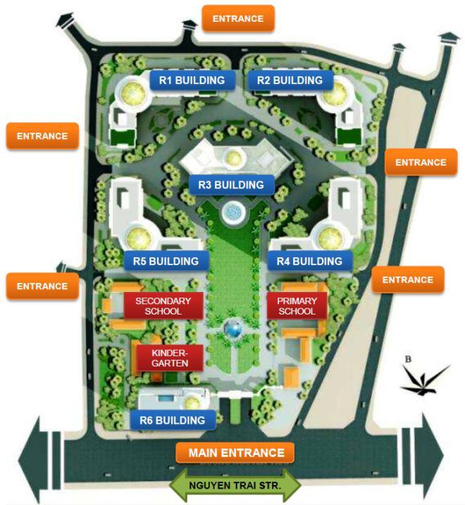 「VINCOM MEGA MALL ROYAL CITY」のアパート配置図「幼稚園から小学校まで敷地内に併設されます」