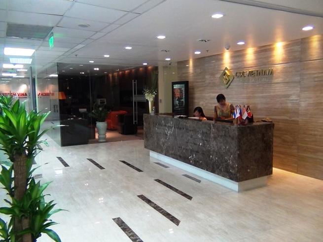 Kim Maエリアの人気のレンタルオフィス「CSC Executive Business Center」の受付風景