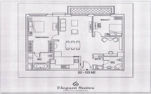 2ベッドルーム(123㎡:2階~12階部分):3.080ドル~3.740ドル