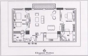 3ベッドルーム(161㎡:3階~12階部分):3.630ドル~4.730ドル