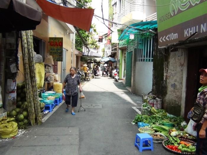 直ぐ横の路地沿いにたくさんの露店が並んでいます。美味しいベトナムの果物や生鮮野菜が数多く手に入れる事が出来ます