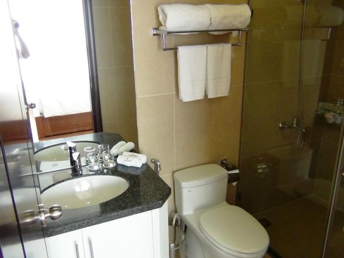 洗面とお手洗いにシャワーブースがついています