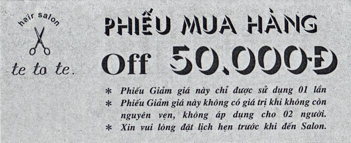 ベトナム人向けヘアカット代は350,000VND「更にこのチケットがあれば50,000VND安くなります」