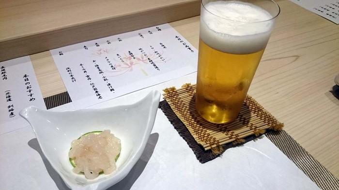 先付は高級食「白海老(しらえび)」