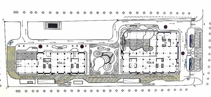 ツインタワーの敷地内配置図