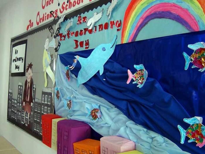 子供さんの創作意欲を掻き立てる壁面の展示物です