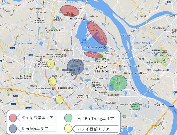 ハノイに住む日本人の分布図