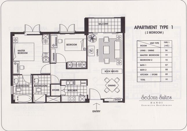 Sedona Suites 2LDK(91㎡)