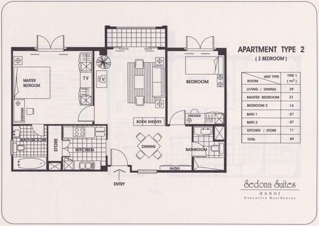 Sedona Suites 2LDK(89㎡)