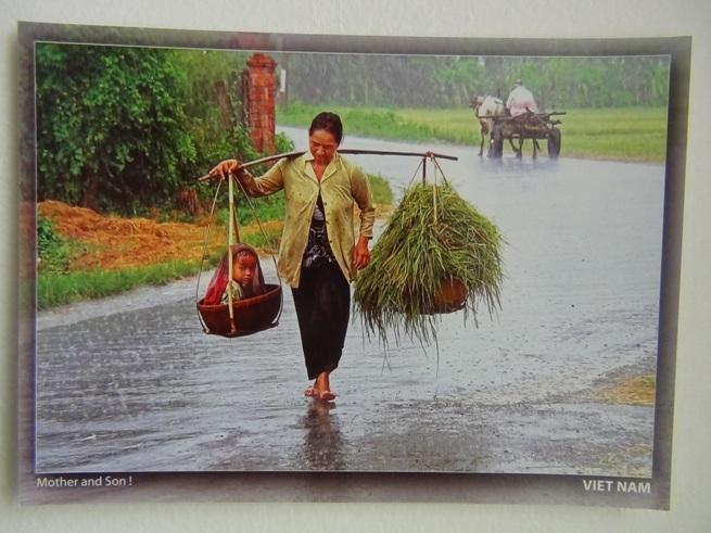 ハノイの孔子廟「文廟」で見つけた写真「雨を歩く母親」