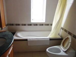 窓付きバスタブ付きの浴室