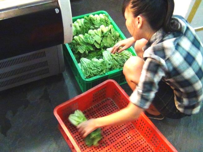「ヴェジーズ/Veggy's」の2階の作業場。見た感じ、新鮮な野菜でした。