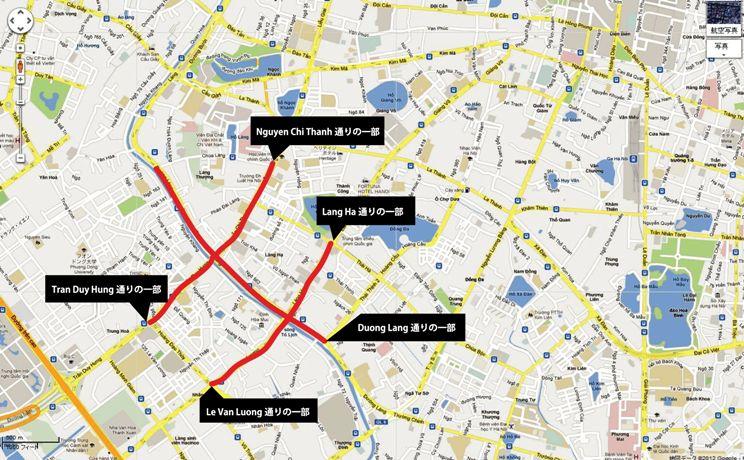 ハノイ市内のタクシー乗り入れ規制が掛かる道路