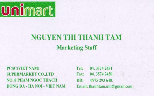 uni mart担当「TAM」さんの名刺