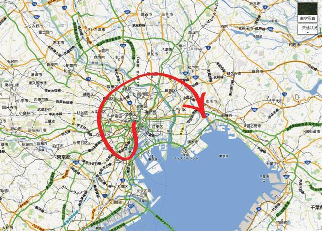 「東京の人口増加は「の」の字で、こんな感じよ」