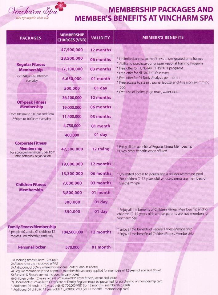 Vincom Centerフィットネス、プール、サウナ、ジャグジー使用料一覧
