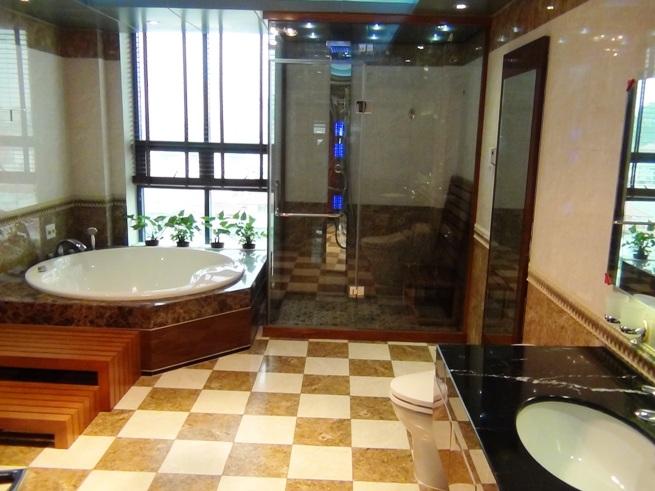 バスルームと洗面お手洗いでこのスペース「サウナ&ジャグジー、ウォシュレットが標準装備のアパート」