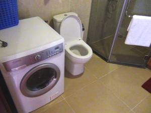 乾燥機能付き洗濯機をオーナーさんは用意してくれています