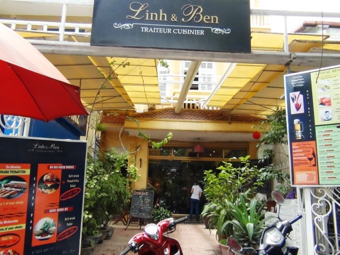 Linh & Ben(Fastfood、クレープの美味しい店)「住所:45 Xuan Dieu Tay Ho DIst 連絡先:04 66811418