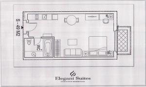 Studioタイプ(43㎡:2階から9階部分):2.090ドル~2.640ドル
