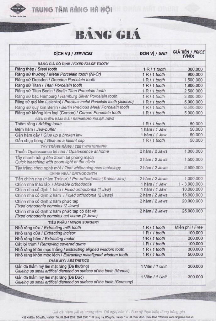 ハノイの優秀なローカル歯医者さん「RANG HA NOI」価格表表