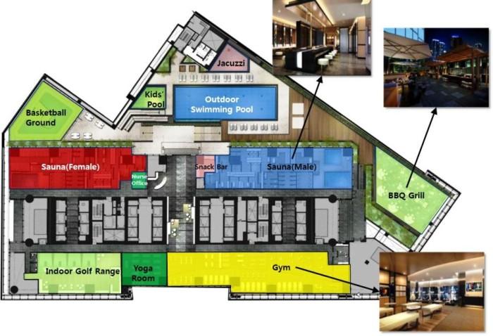 7階共用スペースのレイアウト図(管理会社よりいただいた資料より抜粋)