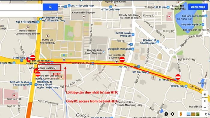 INDOCHINA PLAZA前「Xuan Thuy通り」から「Cau Giay通り」に掛けての交通規制エリア