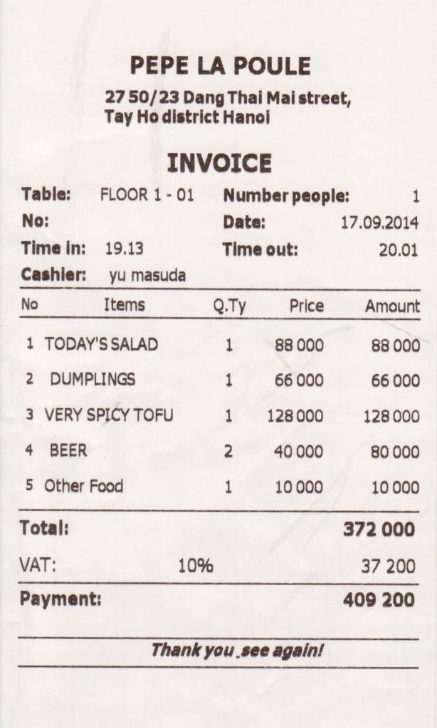 PePe La Pouleでのお会計「サプライズな料理を食べれてこの価格なら文句はありません」