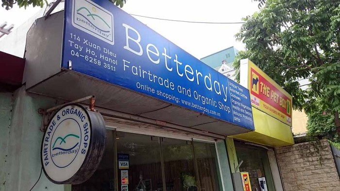 Fairtrade and Organic Shop「Betterday」は小さなショップです