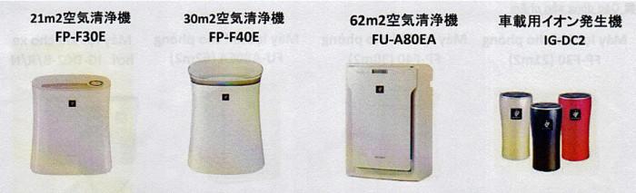 プラズマクラスター空気清浄機の型番(SHARP ELECTRONICS VIETNAMさんの販促資料より)