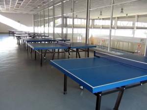 体育館の2階に設置された卓球台