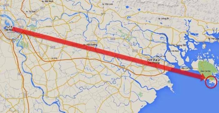 ハノイからハイフォン経由でCat Ba島南端までが今回の旅程です