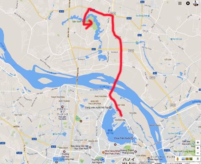 タイ湖東岸あたりから向かう場合の一番近い経路です(これで20分くらい)