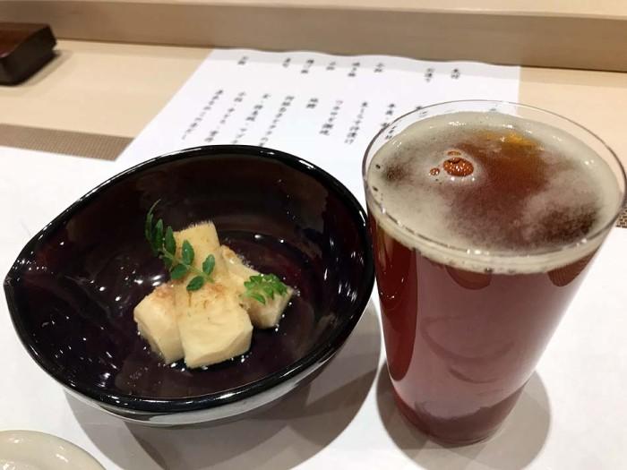 八海山泉ビールと共に出てくる先付「竹の子」