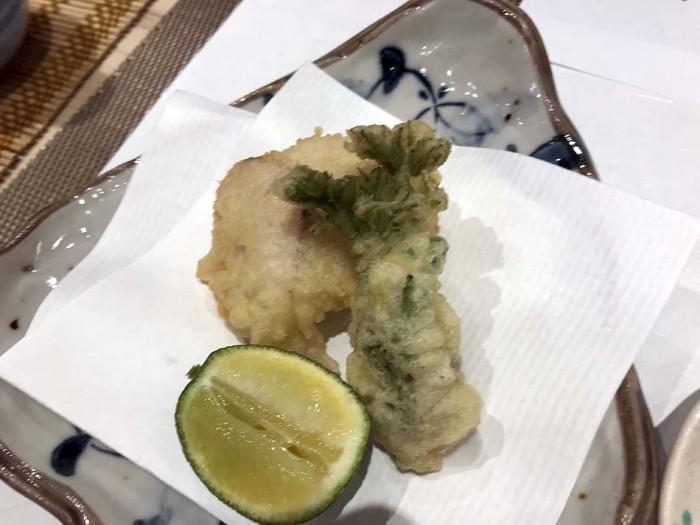 揚げ物「河豚白子とタラの芽の天ぷら」、絶品です