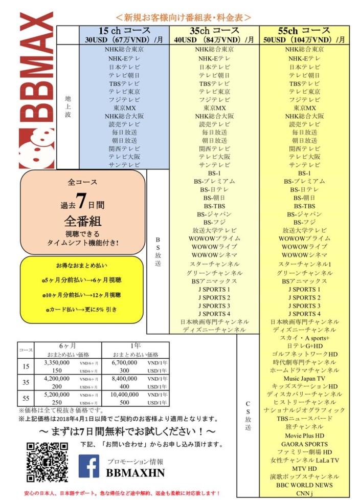 BBMAXの番組内容と視聴料のテーブル