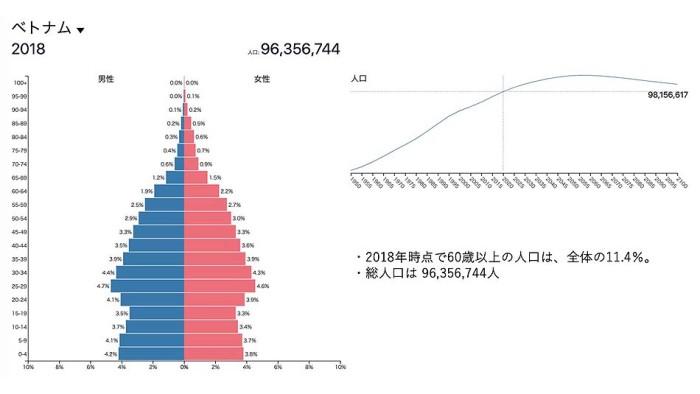 2018時点のベトナムの人口構成です