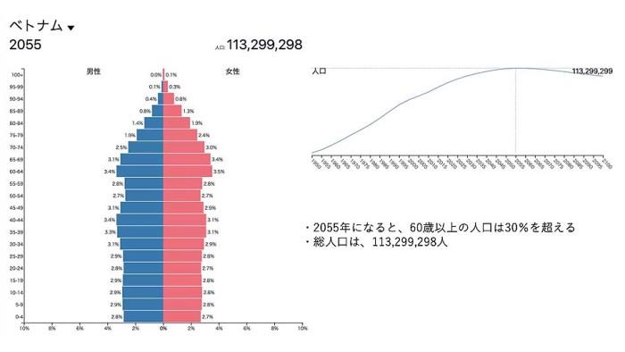 2055のベトナムの人口構成表です