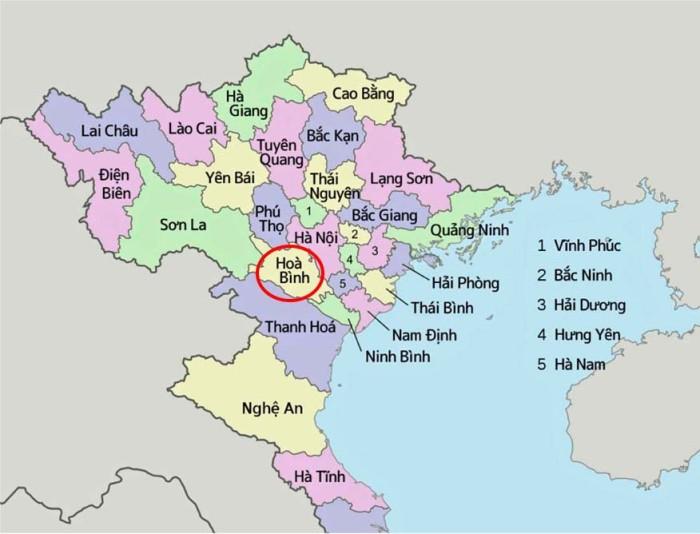 ベトナム北部Hoa Binh省の場所です
